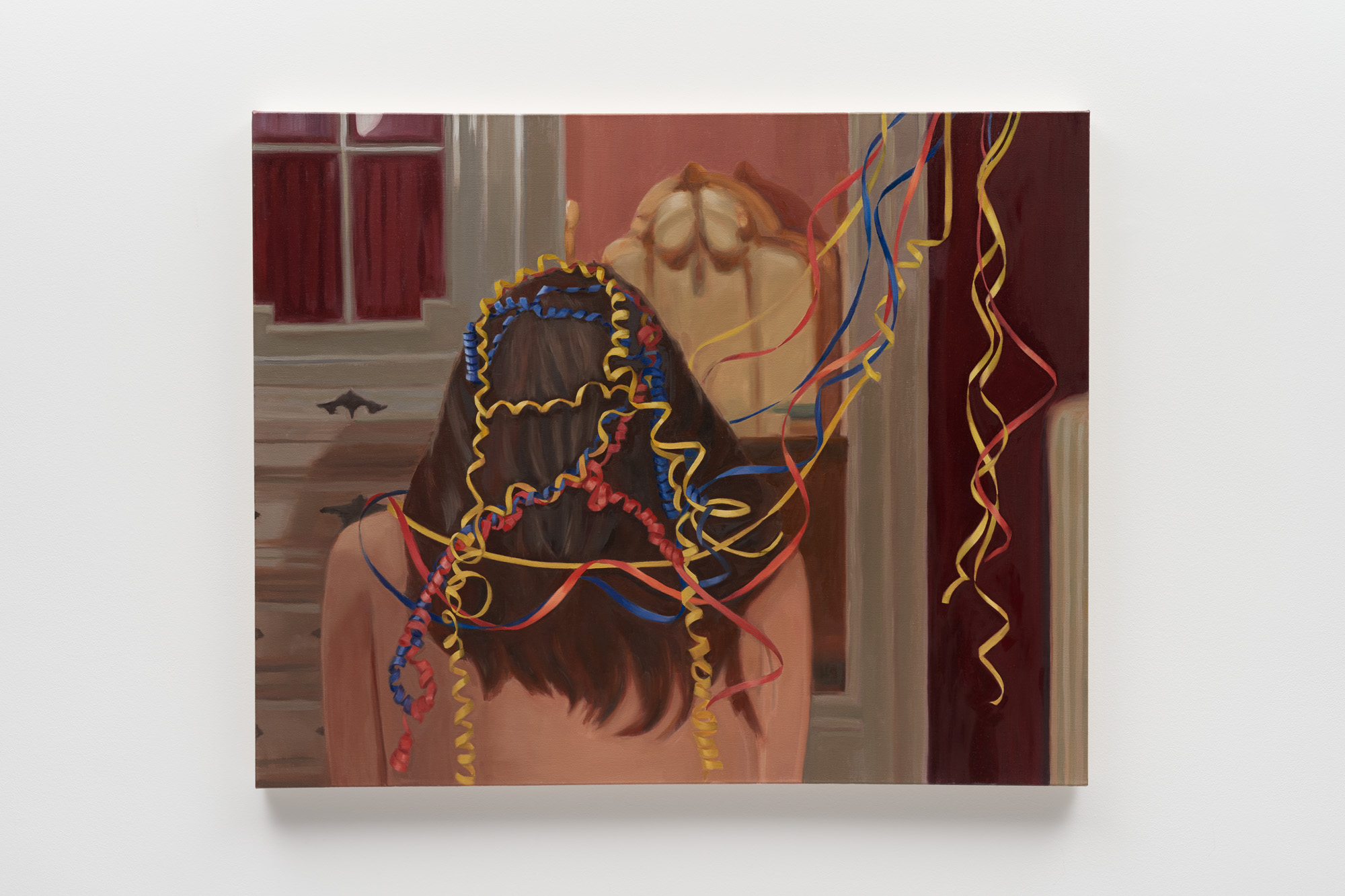 <p>Woman Tangled in Curly Ribbon</p>